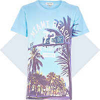 Boys blue Miami Beach print t-shirt