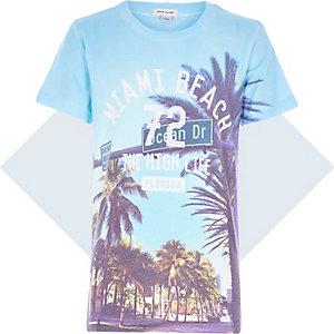 Boys blue Miami Beach print t-shirt