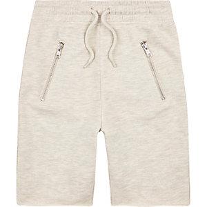 Boys ecru marl drop crotch shorts