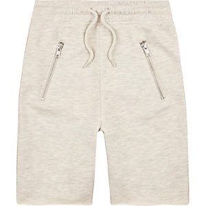 Boys ecru marl drop crotch shorts