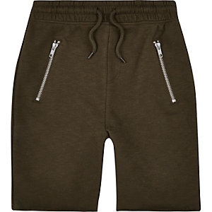 Boys khaki marl drop crotch shorts