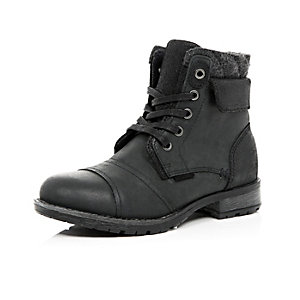 Boys black borg-lined worker boots