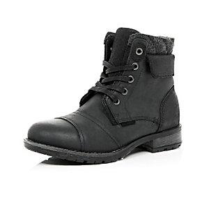 Boys black fleece-lined worker boots