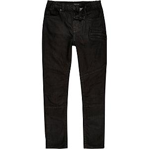 Boys black zip skinny biker jeans
