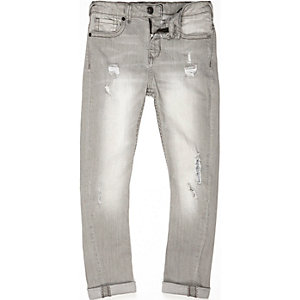 Boys grey Chester skinny tapered jeans