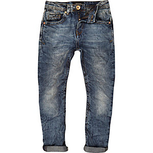 Boys blue wash marbled Chester tapered jeans