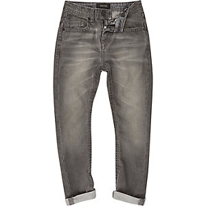Boys grey coated Chester tapered jeans