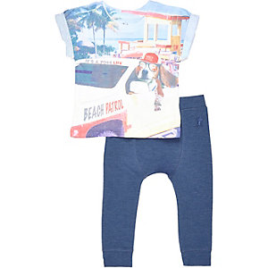 Mini boys blue t-shirt and joggers outfit