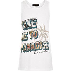Boys white take me to paradise vest