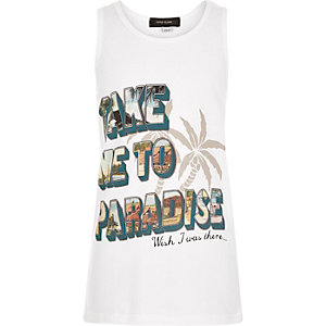 Boys white take me to paradise tank