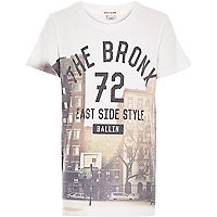 Boys white The Bronx print t-shirt