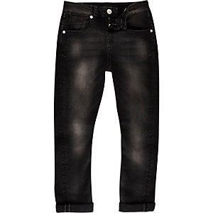 Boys black wash Chester tapered jeans