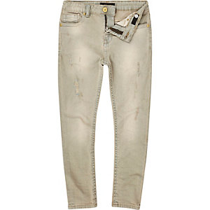 Boys grey distressed Sid skinny jeans