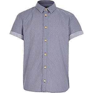 Boys navy ditsy print short sleeve shirt
