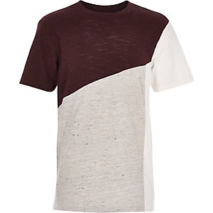 Boys dark red colour block t-shirt