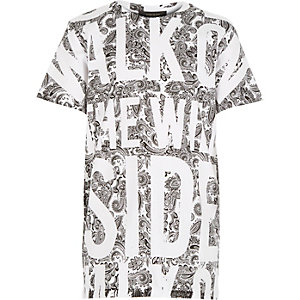 Boys white bandana wild side print t-shirt