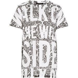 Boys white bandana wild side print t-shirt