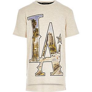 Boys ecru LA print t-shirt