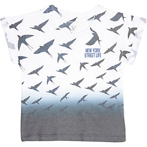 Mini boys white faded bird print t-shirt