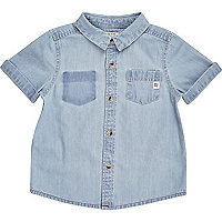 Mini boys light blue denim shirt