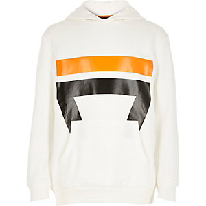 Boys white sport print hoodie