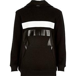 Boys black sport print hoodie