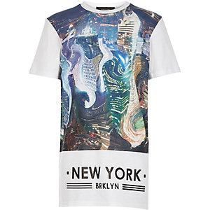 Boys white warped city print t-shirt