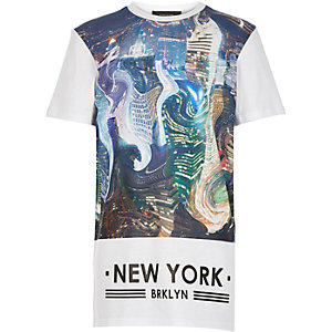 Boys white warped city print t-shirt