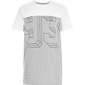 Boys white geo 93 print t-shirt