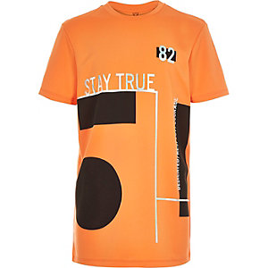 Boys orange foil print t-shirt