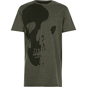 Boys green asymmetric skull print t-shirt