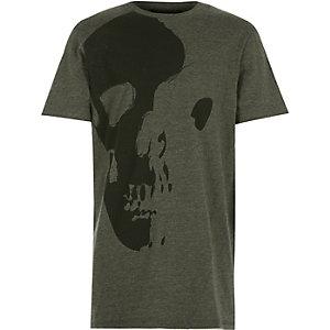 Boys green asymmetric skull print t-shirt