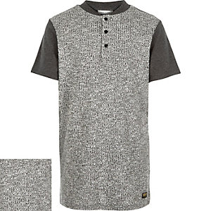 Boys grey ribbed front t-shirt