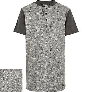 Boys grey ribbed front t-shirt