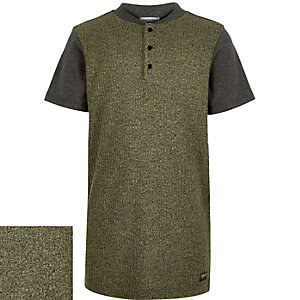 Boys khaki ribbed front t-shirt
