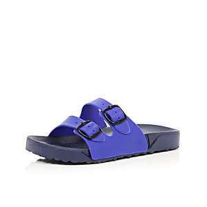 Boys navy two buckle sandals