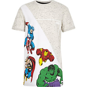 Boys white Marvel characters t-shirt