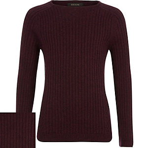 Boys dark red ribbed jumper