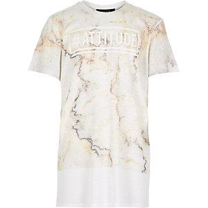 Boys ecru marble print attitude t-shirt