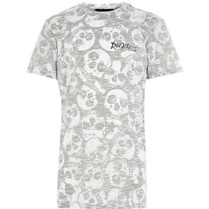 Boys green reverse skull print t-shirt