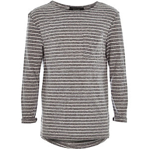 Boys grey stripe slouchy t-shirt