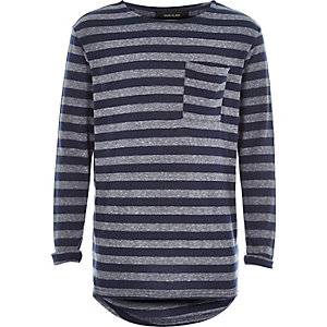 Boys navy grey stripe pocket t-shirt