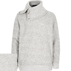 Boys ecru asymmetric funnel neck sweatshirt