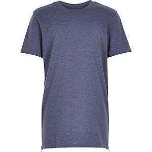 Boys blue marl zip side longer length t-shirt