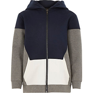 Boys navy block colour hoodie