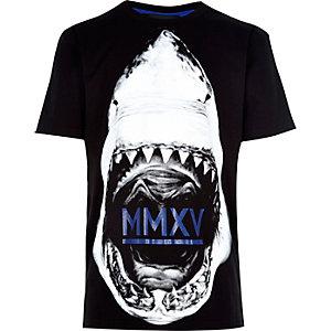 Boys black shark face print t-shirt