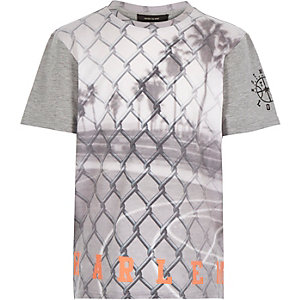 Boys grey wire fence print t-shirt