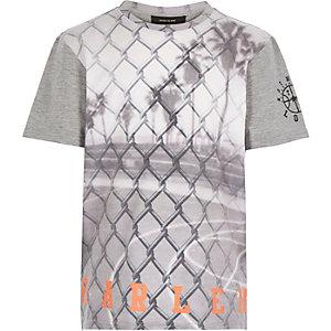 Boys grey wire fence print t-shirt