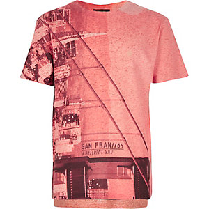 Boys red textured city print t-shirt