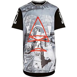 Boys black mesh liberty print t-shirt